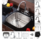 Kraus Stainless Steel 20 inch Undermount 16 gauge Single Bowl Kitchen Sink with Kitchen Faucet and Soap Dispenser KBU11-KPF2220-KSD30