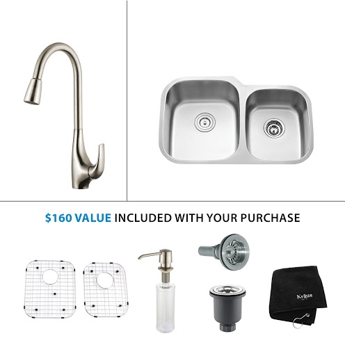 Kraus 32 inch Undermount Double Bowl Stainless Steel Kitchen Sink with Stainless Steel Finish Kitchen Faucet and Soap Dispenser kbu24-kpf1621-ksd30ss