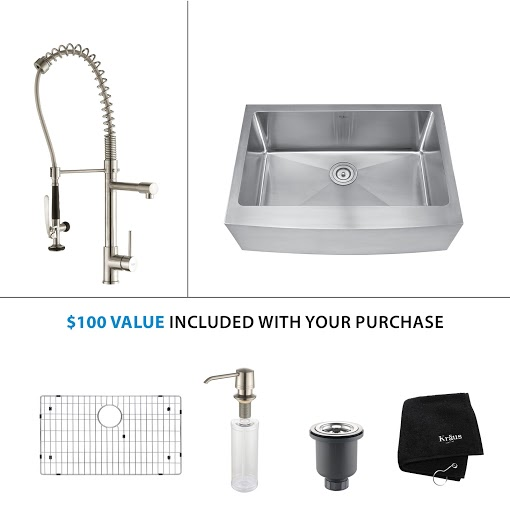 Kraus 30 inch Farmhouse Single Bowl Stainless Steel Kitchen Sink with Stainless Steel Finish Kitchen Faucet and Soap Dispenser KHF200-30-KPF1602-KSD30SS