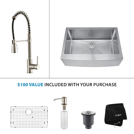 Kraus 30 inch Farmhouse Single Bowl Stainless Steel Kitchen Sink with Stainless Steel Finish Kitchen Faucet and Soap Dispenser KHF200-30-KPF1612-KSD30SS