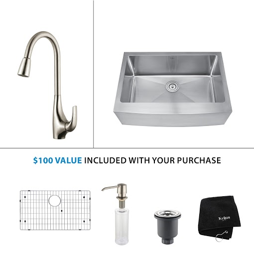 Kraus 30 inch Farmhouse Single Bowl Stainless Steel Kitchen Sink with Stainless Steel Finish Kitchen Faucet and Soap Dispenser KHF200-30-KPF1621-KSD30SS
