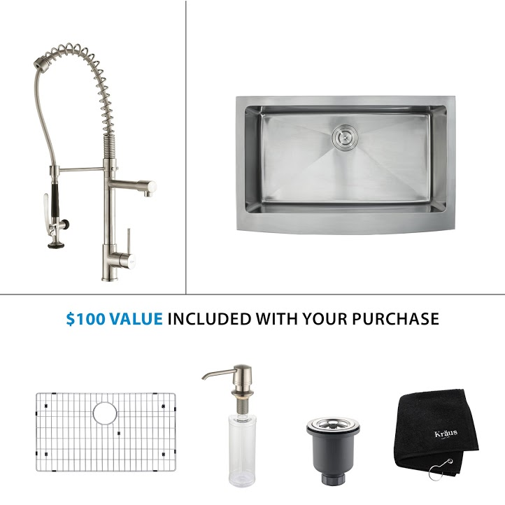 Kraus 33 inch Farmhouse Single Bowl Stainless Steel Kitchen Sink with Stainless Steel Finish Kitchen Faucet and Soap Dispenser khf200-33-kpf1602-ksd30ss