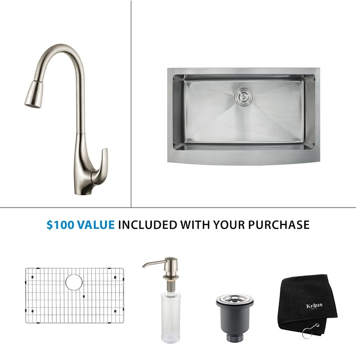 Kraus 33 inch Farmhouse Single Bowl Stainless Steel Kitchen Sink with Stainless Steel Finish Kitchen Faucet and Soap Dispenser KHF200-33-KPF1621-KSD30SS