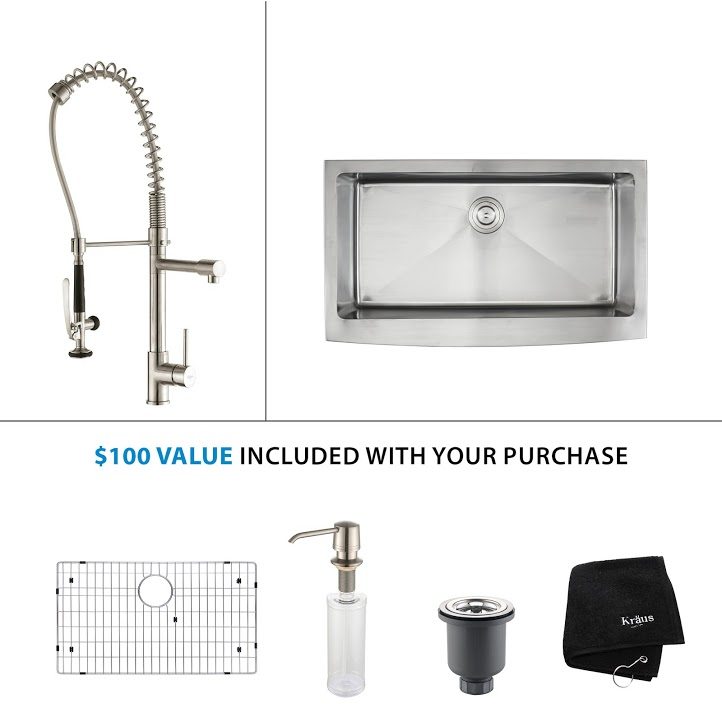 Kraus 36 inch Farmhouse Single Bowl Stainless Steel Kitchen Sink with Stainless Steel Finish Kitchen Faucet and Soap Dispenser KHF200-36-KPF1602-KSD30SS