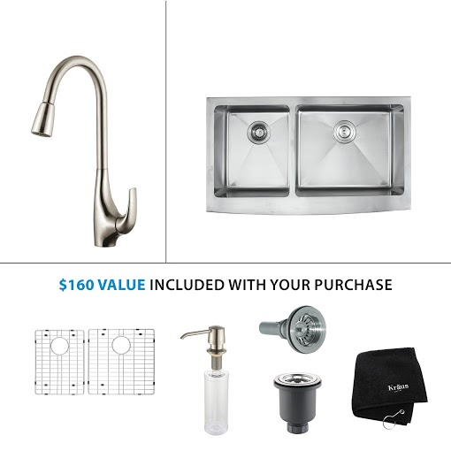 Kraus 33 inch Farmhouse Double Bowl Stainless Steel Kitchen Sink with Stainless Steel Finish Kitchen Faucet and Soap Dispenser KHF203-33-KPF1621-KSD30SS