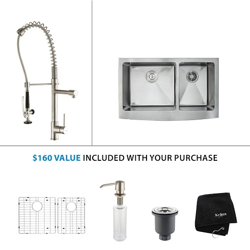 Kraus 36 inch Farmhouse Double Bowl Stainless Steel Kitchen Sink with Stainless Steel Finish Kitchen Faucet and Soap Dispenser KHF203-36-KPF1602-KSD30SS