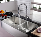 "Kraus 36"" Farmhouse Double Bowl Stainless Steel Kitchen Sink With Chrome Faucet and Soap Dispenser KHF203-36-KPF1612-KSD30CH"