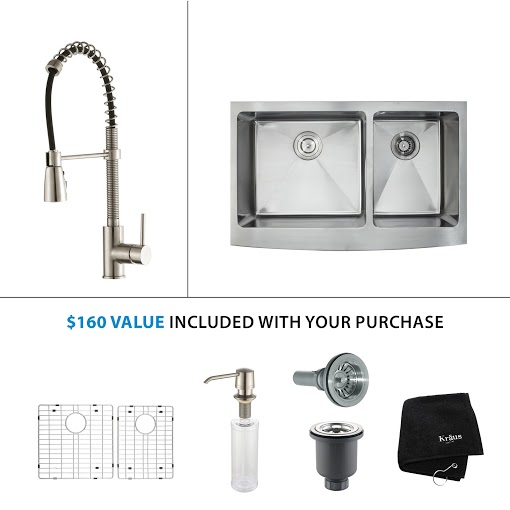 Kraus 36 inch Farmhouse Double Bowl Stainless Steel Kitchen Sink with Stainless Steel Finish Kitchen Faucet and Soap Dispenser KHF203-36-KPF1612-KSD30SS
