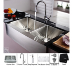Kraus Stainless Steel 36 inch Farmhouse 70/30 Double Bowl Kitchen Sink and Chrome Kitchen Faucet with Soap Dispenser KHF203-36-KPF1622-KSD30CH