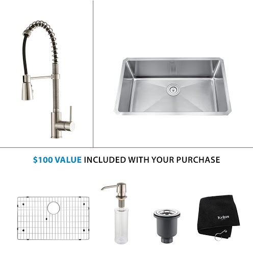Kraus 30 inch Undermount Single Bowl Stainless Steel Kitchen Sink with Stainless Steel Finish Kitchen Faucet and Soap Dispenser KHU100-30-KPF1612-KSD30SS