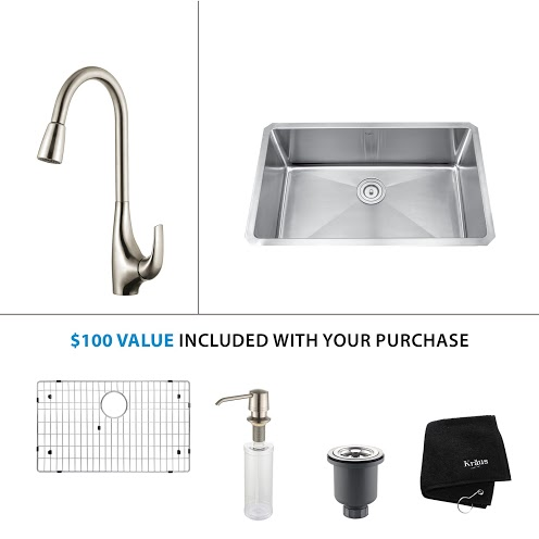 Kraus 30 inch Undermount Single Bowl Stainless Steel Kitchen Sink with Stainless Steel Finish Kitchen Faucet and Soap Dispenser KHU100-30-KPF1621-KSD30SS