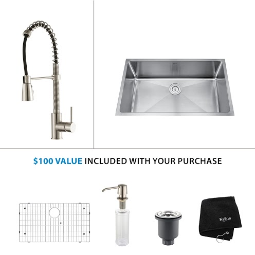 Kraus 32 inch Undermount Single Bowl Stainless Steel Kitchen Sink with Stainless Steel Finish Kitchen Faucet and Soap Dispenser KHU100-32-KPF1612-KSD30SS