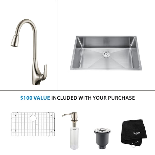 Kraus 32 inch Undermount Single Bowl Stainless Steel Kitchen Sink with Stainless Steel Finish Kitchen Faucet and Soap Dispenser KHU100-32-KPF1621-KSD30SS
