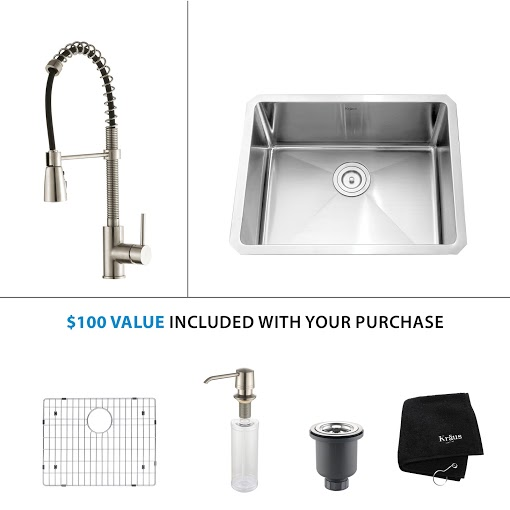 Kraus 23 inch Undermount Single Bowl Stainless Steel Kitchen Sink with Stainless Steel Finish Kitchen Faucet and Soap Dispenser KHU101-23-KPF1612-KSD30SS
