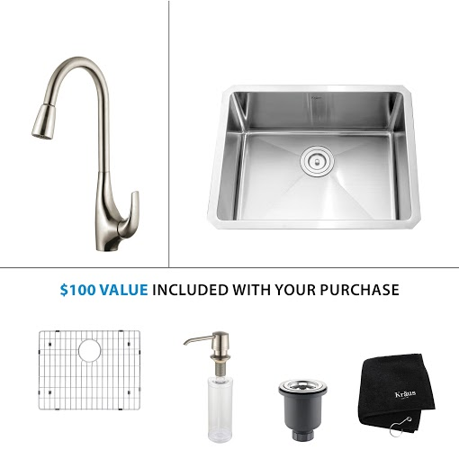 Kraus 23 inch Undermount Single Bowl Stainless Steel Kitchen Sink with Stainless Steel Finish Kitchen Faucet and Soap Dispenser KHU101-23-KPF1621-KSD30SS