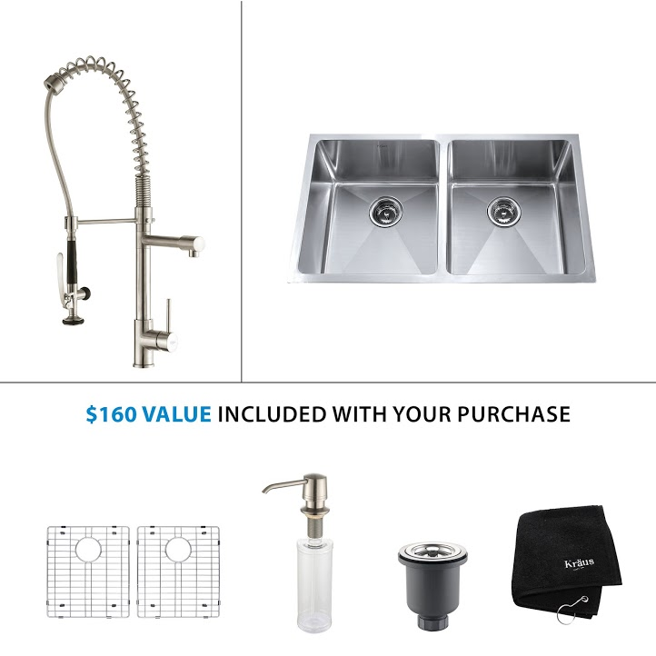 Kraus 33 inch Undermount Double Bowl Stainless Steel Kitchen Sink with Stainless Steel Finish Kitchen Faucet and Soap Dispenser KHU102-33-KPF1602-KSD30SS