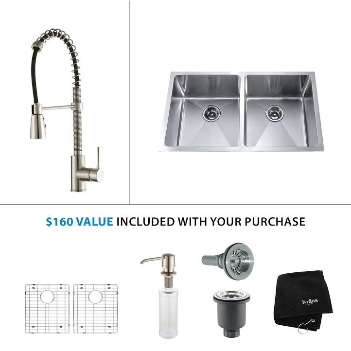 Kraus 33 inch Undermount Double Bowl Stainless Steel Kitchen Sink with Stainless Steel Finish Kitchen Faucet and Soap Dispenser KHU102-33-KPF1612-KSD30SS