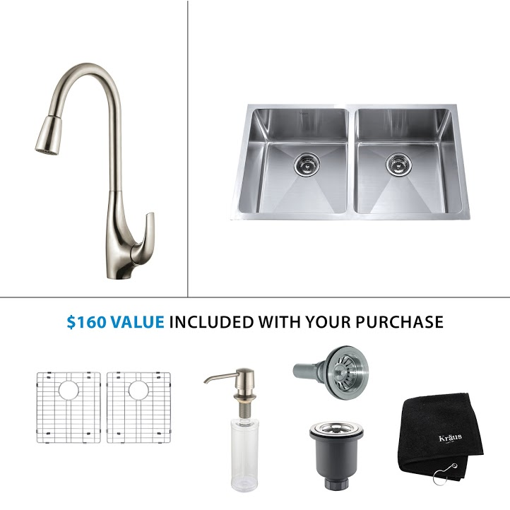 Kraus 33 inch Undermount Double Bowl Stainless Steel Kitchen Sink with Stainless Steel Finish Kitchen Faucet and Soap Dispenser KHU102-33-KPF1621-KSD30SS