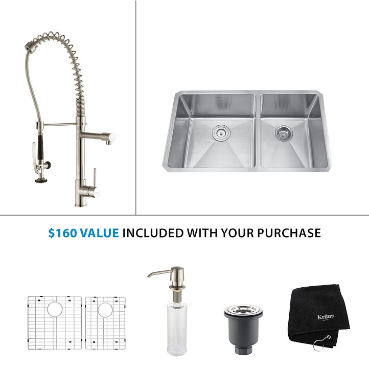 Kraus 33 inch Undermount Double Bowl Stainless Steel Kitchen Sink with Stainless Steel Finish Kitchen Faucet and Soap Dispenser KHU103-33-KPF1602-KSD30SS
