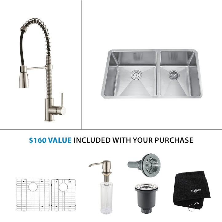 Kraus 33 inch Undermount Double Bowl Stainless Steel Kitchen Sink with Stainless Steel Finish Kitchen Faucet and Soap Dispenser KHU103-33-KPF1612-KSD30SS