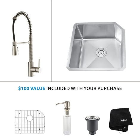 Kraus 23 inch Undermount Single Bowl Stainless Steel Kitchen Sink with Stainless Steel Finish Kitchen Faucet and Soap Dispenser KHU121-23-KPF1612-KSD30SS