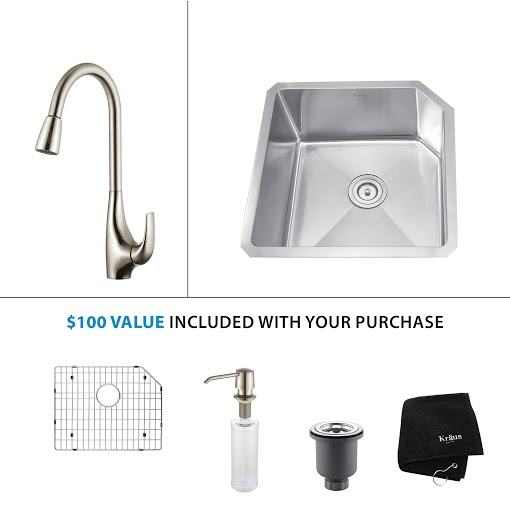 Kraus 23 inch Undermount Single Bowl Stainless Steel Kitchen Sink with Stainless Steel Finish Kitchen Faucet and Soap Dispenser KHU121-23-KPF1621-KSD30SS