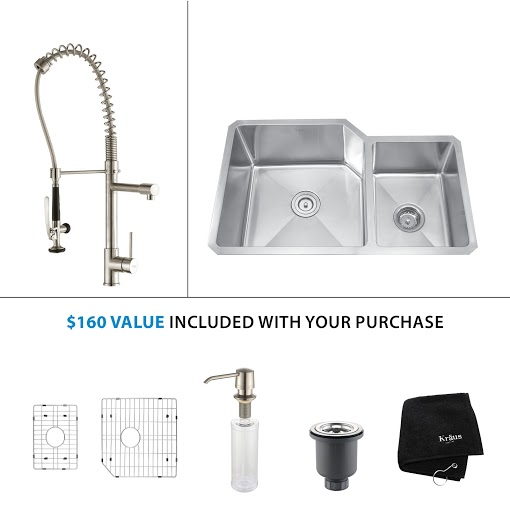 Kraus 32 inch Undermount Double Bowl Stainless Steel Kitchen Sink with Stainless Steel Finish Kitchen Faucet and Soap Dispenser KHU123-32-KPF1602-KSD30SS