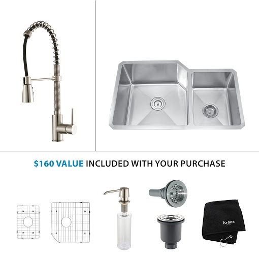 Kraus 32 inch Undermount Double Bowl Stainless Steel Kitchen Sink with Stainless Steel Finish Kitchen Faucet and Soap Dispenser KHU123-32-KPF1612-KSD30SS
