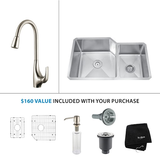Kraus 32 inch Undermount Double Bowl Stainless Steel Kitchen Sink with Stainless Steel Finish Kitchen Faucet and Soap Dispenser KHU123-32-KPF1621-KSD30SS