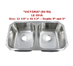 Leonet Victoria 50/50 LE-191A Double Bowl Stainless Steel Kitchen Sink