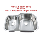 Leonet Regal Reverse 30/70 LE-297BR Double Bowl Stainless Steel Kitchen Sink