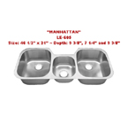 Leonet Manhattan LE-605 Triple Bowl Stainless Steel Kitchen Sink