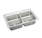 Elkay Lustertone 33x22 3 Hole Double Bowl Sink LR33223