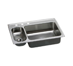Elkay Pacemaker 33x22 3 Hole Double Bowl Sink PSMR33223