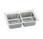 Elkay Pacemaker 33x22 4 Hole Double Bowl Sink PSR33224