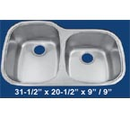 Patriot PAUD03 60/40 Undermount Stainless Steel Sink